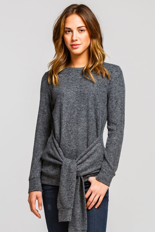 TIE WAIST THIN SWEATER