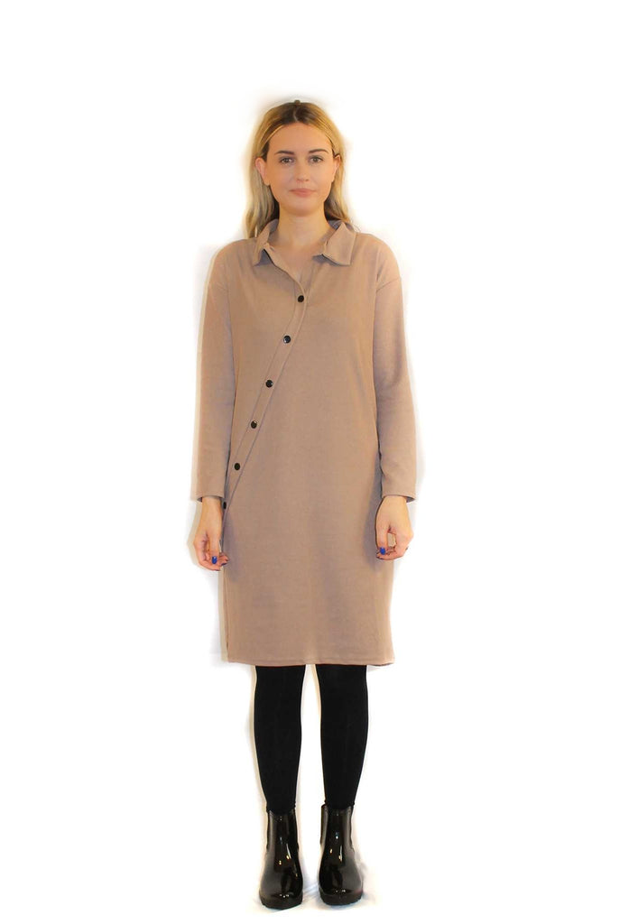 SLANTED BUTTON SHIRT DRESS