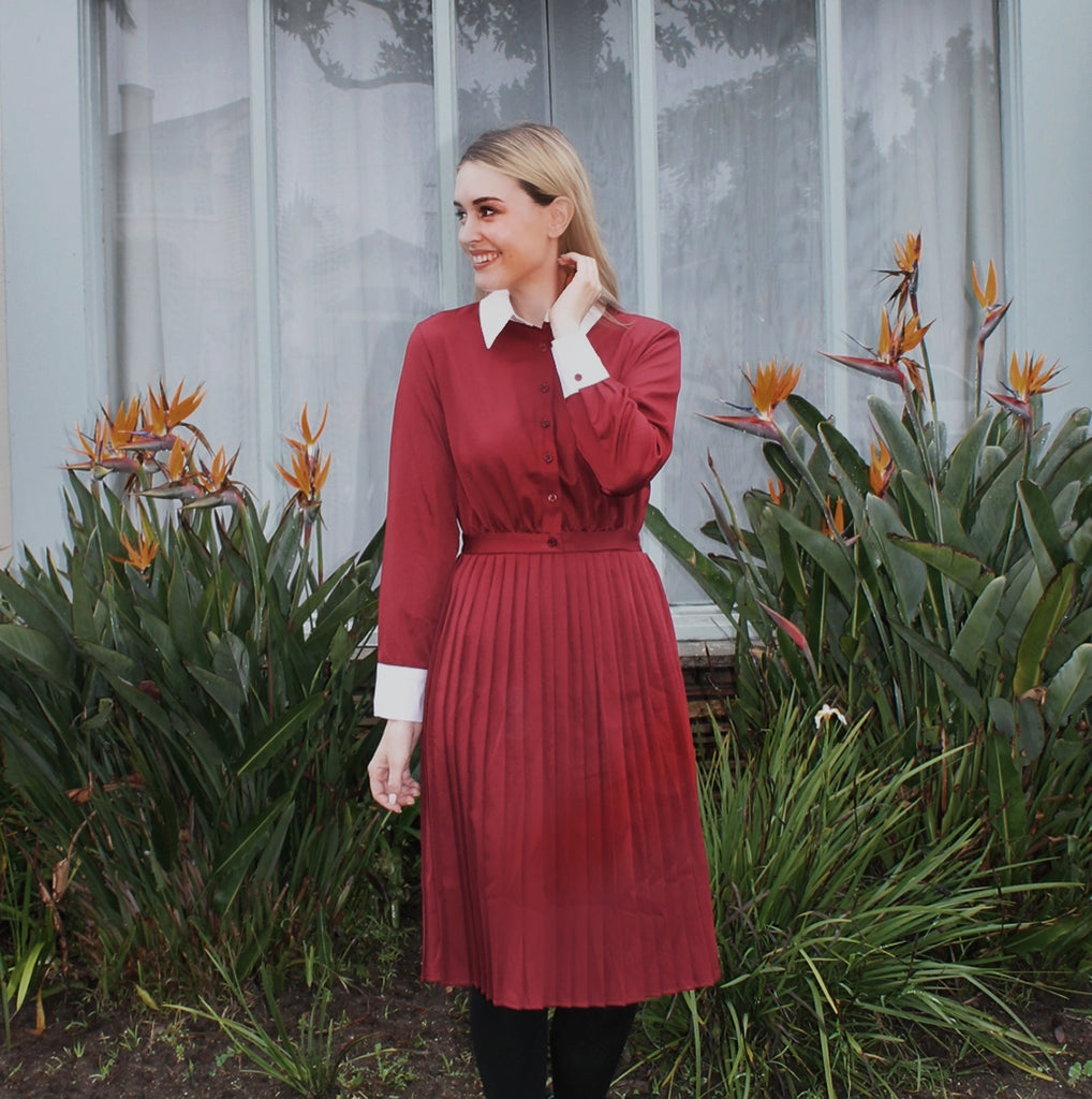 MAROON PLEAT BOTTOM DRESS