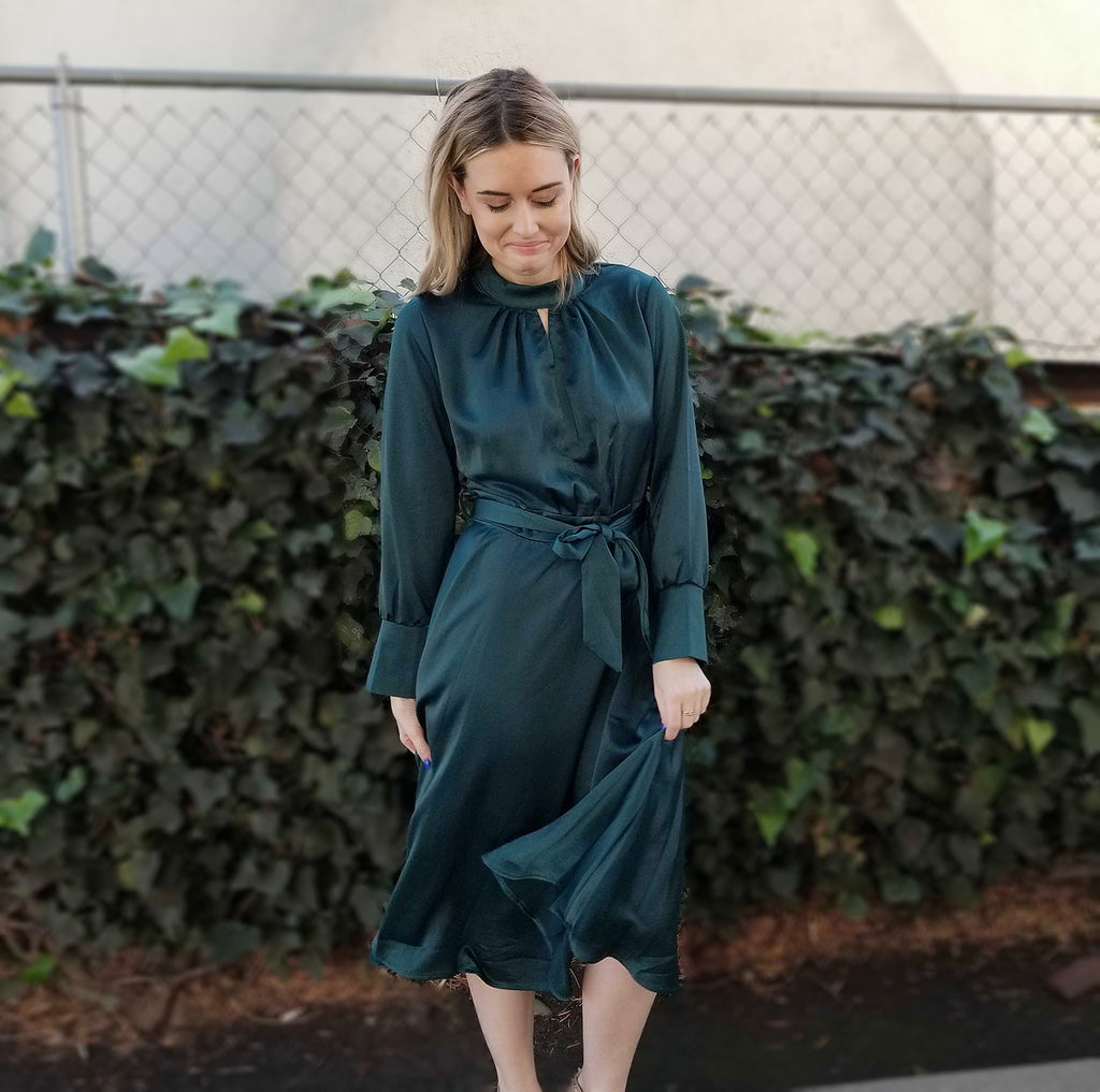EMERALD SILKY DRESS