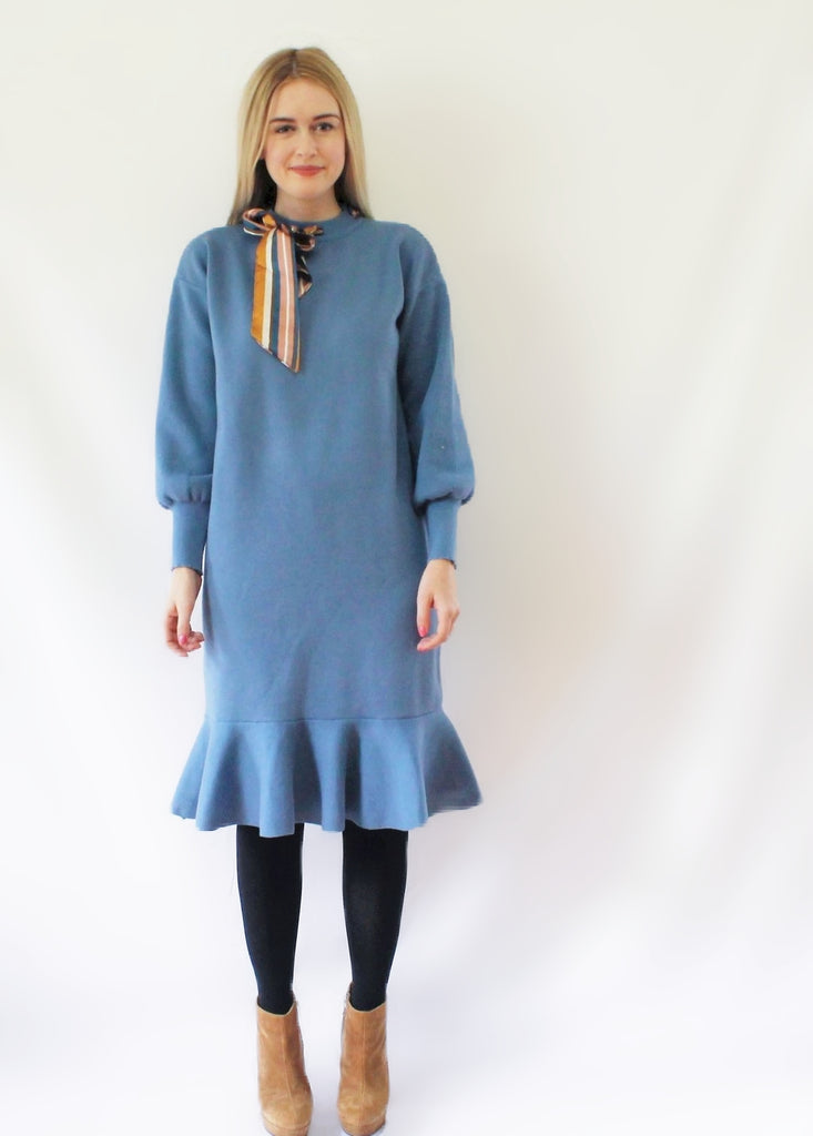 EXTRA PETITE: SILK COLLAR DRESS
