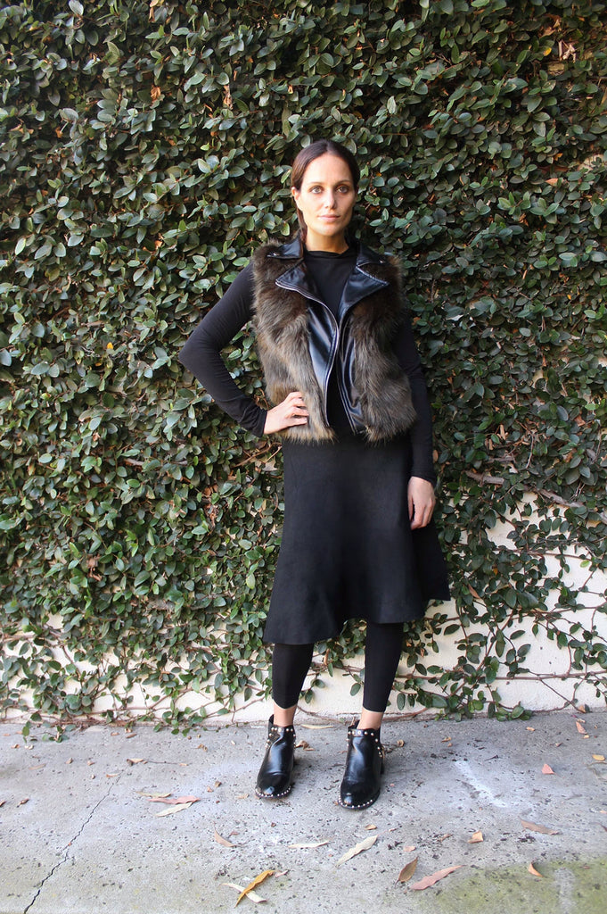 LEATHER & FUR VEST