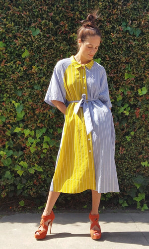 COLORBLOCK SHIRT DRESS - REGULAR SIZE
