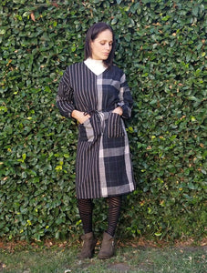 STRIPE ON PLAID DRESS