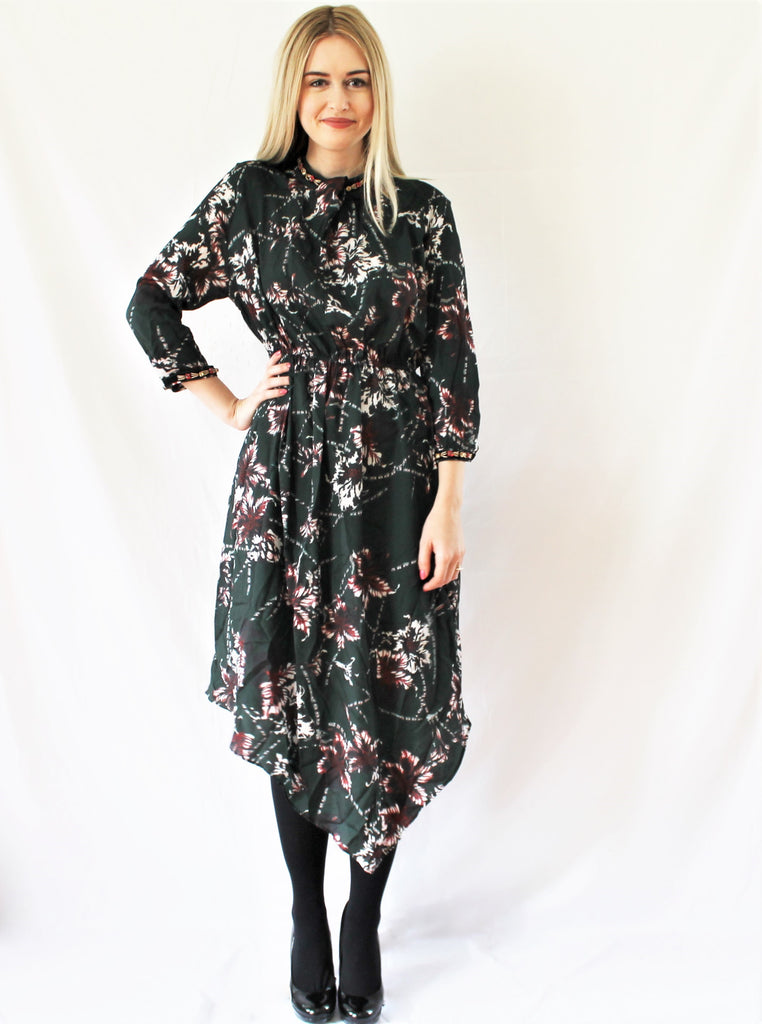 FOREST FLORAL ASYMMETRICAL DRESS