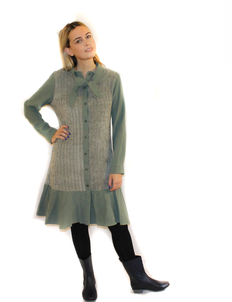 CHENILLE FRONT SHIRT DRESS