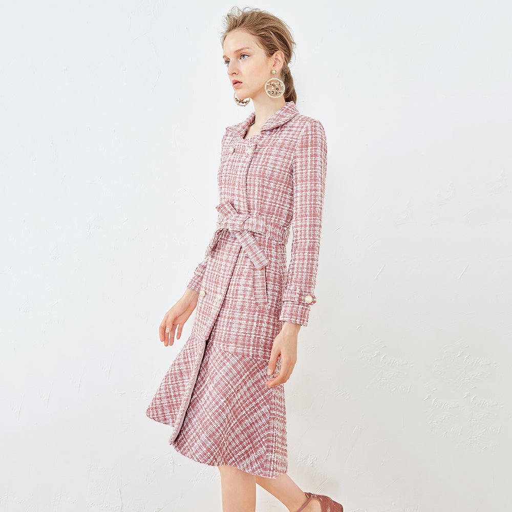 DOUBLE BREASTED TWEED JACKET DRESS