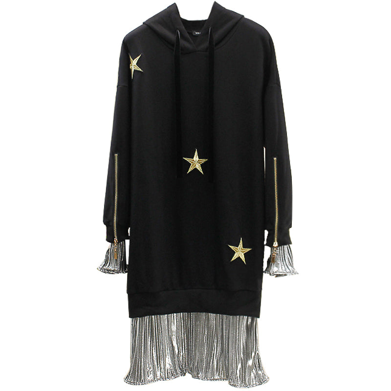 EXTRA PETITE: STAR METALLIC HOODIE DRESS