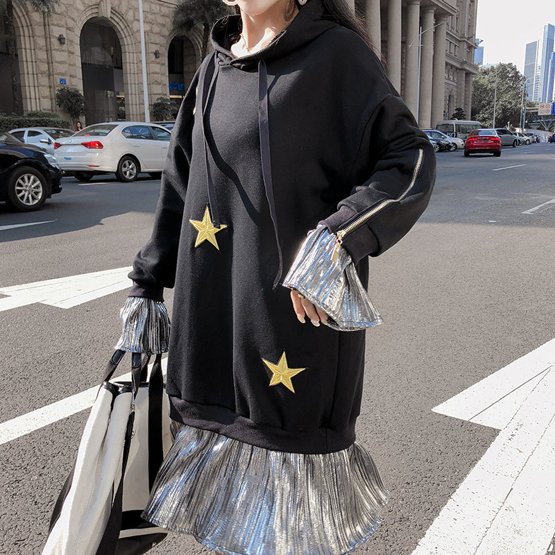STAR METALLIC HOODIE DRESS
