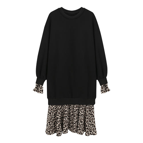 LEOPARD TRIMMED SWEATER DRESS
