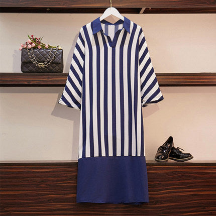 DROP WAIST STRIPE DRESS