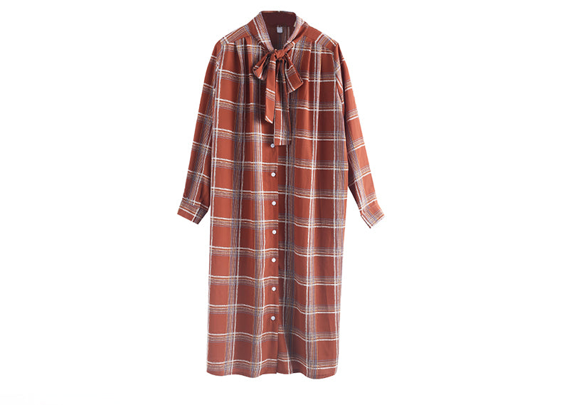 PLAID TIE COLLAR SHIFT