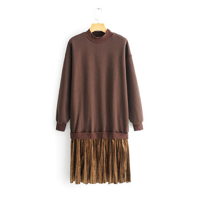 BROWN FLEECE SWEATER DRESS