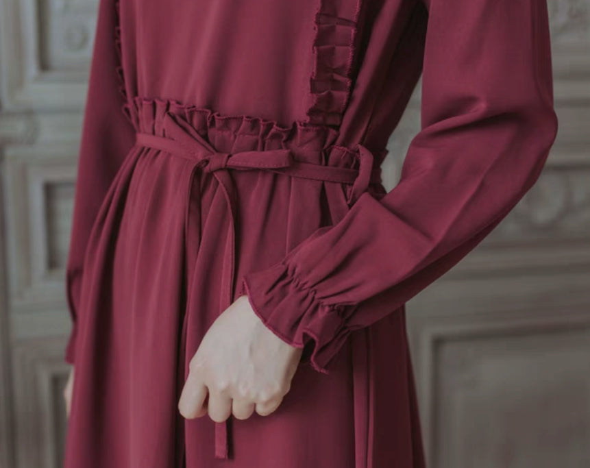 MAROON FRILL TRIMMED DRESS