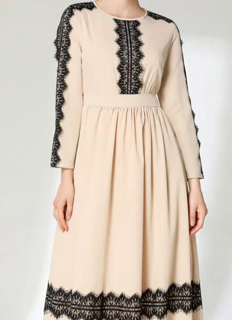 LACE TRIMMED BLUSH DRESS