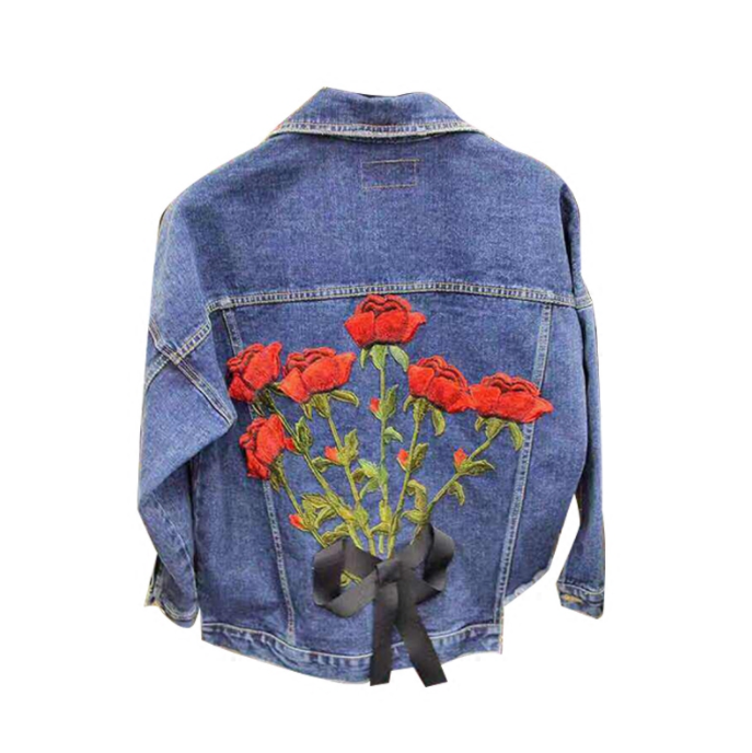 ROSE BACK SHREDDED BOTTOM DENIM JACKET