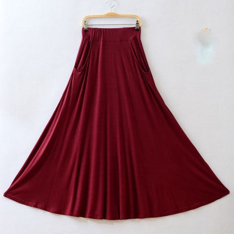 Maroon MM Long Pocket Skirts