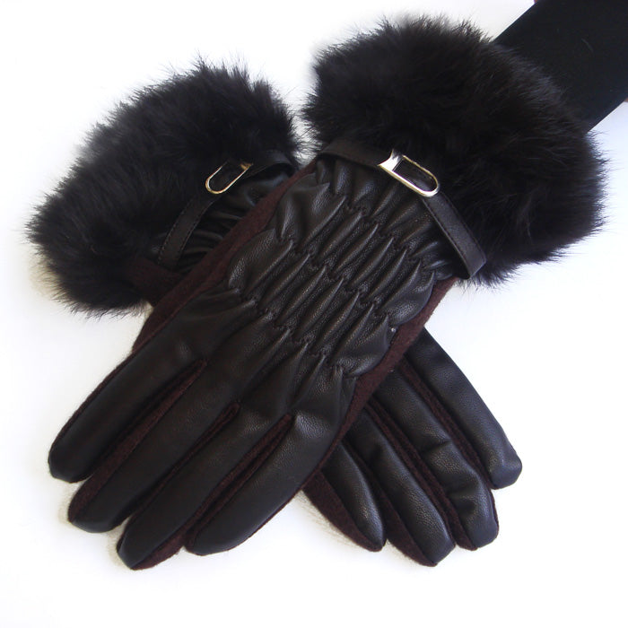Faux Leather and Fur Knit Gloves