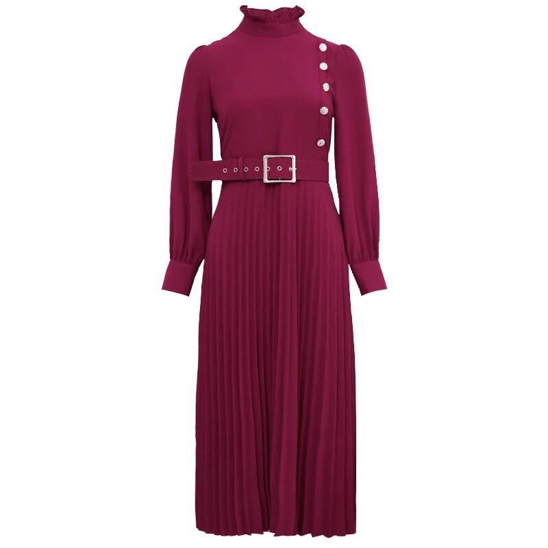 PLEAT BOTTOM WINE DRESS