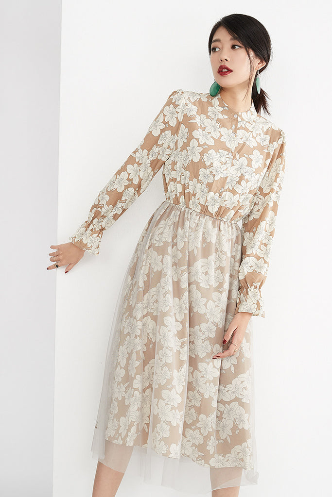 TULLE OVERLAY FLORAL DRESS