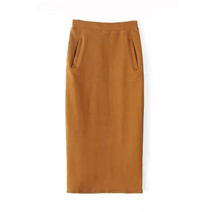 Pencil Pockets Wool Skirt