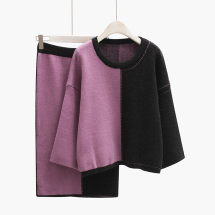 Color Block Sweater Set