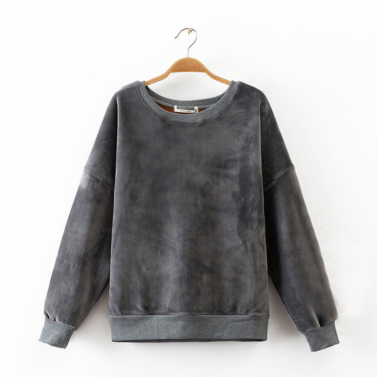 Fleece Lined Velour Sweater - Mia Mod