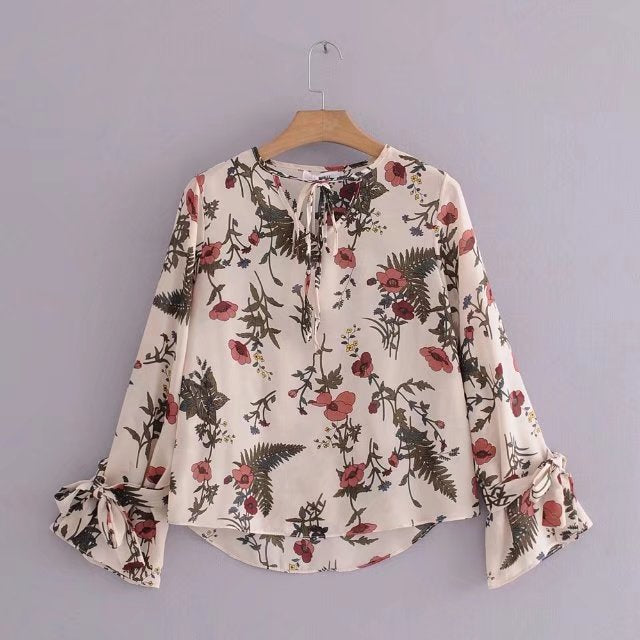 CREAM FLORAL TOP - Mia Mod