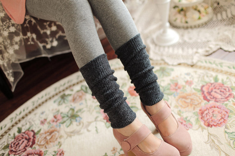CONTRAST KNIT BOTTOM LEGGINGS - Mia Mod