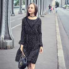 LACE TRIMMED DOTTED DRESS