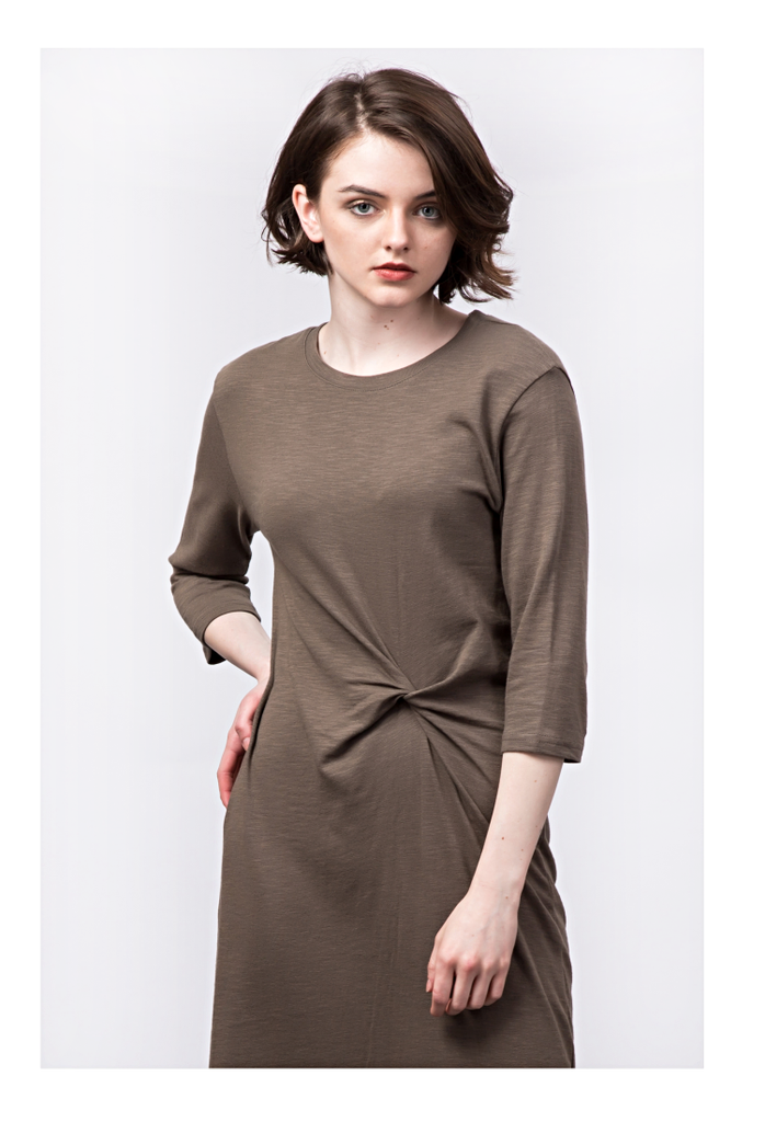 3/4 SLEEVE TWIST MIDDLE TSHIRT DRESS - TALL GIRL STYLE