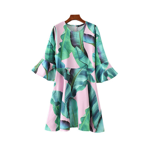 SHORTER GIRL STYLE - PINK LEAFY DRESS