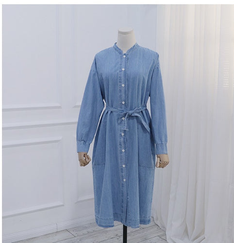 COLLARLESS DENIM SHIRT DRESS