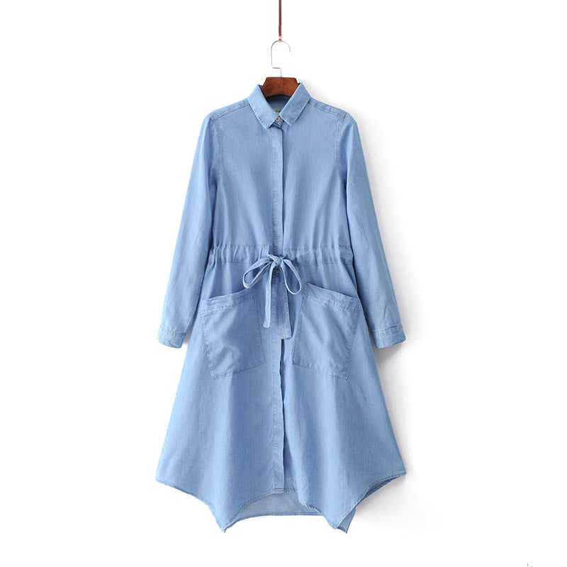 ASYMMETRICAL DENIM SHIRT DRESS