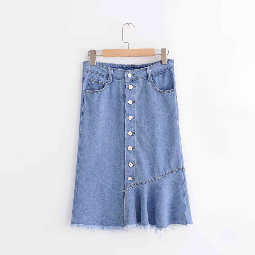 BUTTON DOWN HALF STRAIGHT SKIRT