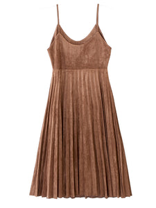 LIGHTWEIGHT SUEDE PLEATED SLIP DRESS