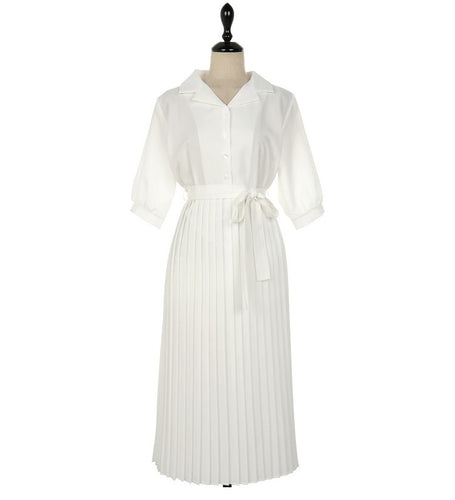 WHITE TUX SHIRT DRESS