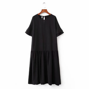 TRUMPET SLEEVE DROP WAIST DRESS