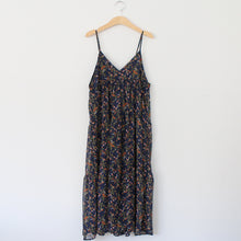 NAVY FLORAL PEASANT SLIP DRESS