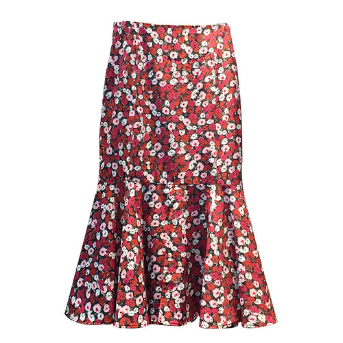 WAVY BOTTOM FLORAL SKIRT
