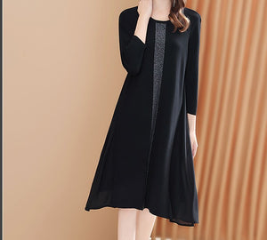 KNIT WITH CHIFFON PANELS DRESS