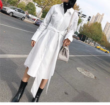TIE WAIST WHITE SHIRT DRESS