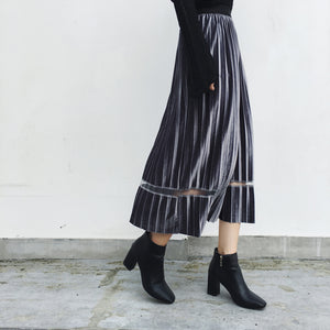 MIDI VELVET FLOAT SKIRT