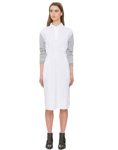 Sweater Sleeve White Dress
