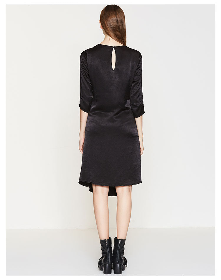 SIGNATURE BLACK SILK TWIST DRESS