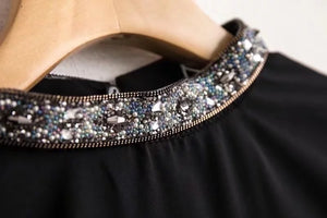 BEDAZZLED NECK BLOUSE