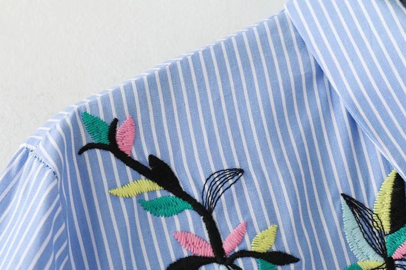 SHORTER GIRL STYLE - EMBROIDERED PINSTRIPE DRESS