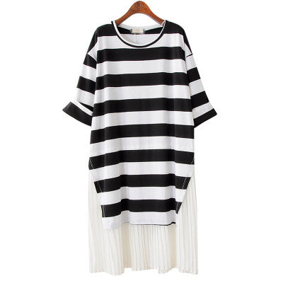 STRIPED TSHIRT PLEAT BOTTOM DRESS