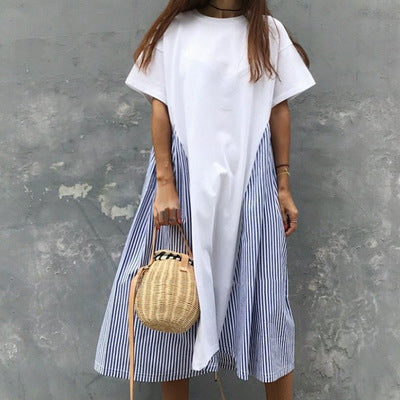 STRIPE SIDE TSHIRT DRESS