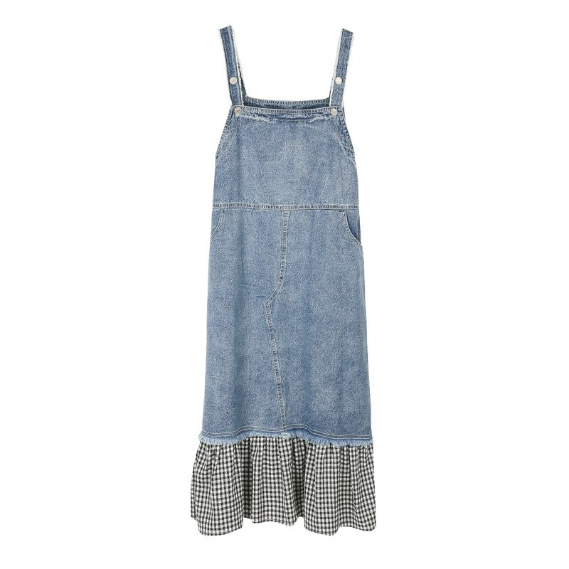 DENIM SLIP DRESS WITH CHECKERED BOTTOM